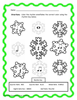 Winter Snowflake Color By Rhythm!