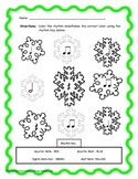 Winter Snowflake Color By Rhythm! Quarter, Rest, Half, Eighth Note Pair!