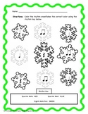 Winter Snowflake Color By Rhythm! Quarter Note, Rest, and Eighth Note Pair!