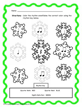 Winter Snowflake Color By Rhythm! Quarter Note, Rest, and
