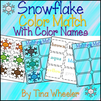Snowflake Color Match With Color Names By Tina Wheeler Tpt