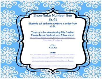 Snowflake Cut and Glue Number Line 10-24 FREEBIE
