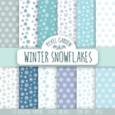 Snowflake Digital Paper. Winter, Snow, Christmas Patterns-