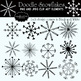 Snowflake Doodle Digital Clip art set- Black and White Set