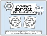 Snowflake EDITABLE Sight Word Memory-Winter Game/Center- N