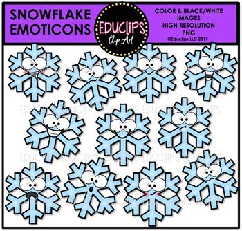 Snowflake Emoticons Clip Art Bundle {Educlips Clipart}