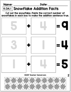 Snowflake Facts: A Cut & Paste Activity- Represent Numbers K.OA.1