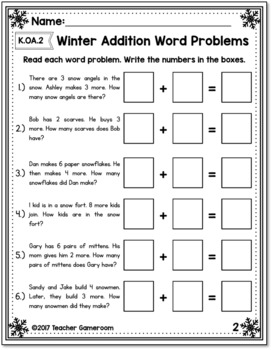 Winter Themed Word Problems K.OA.2