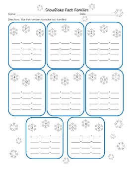 All Worksheets fact families worksheets : Snowflake Fact Families {First Grade 1.OA.3... by Crystal Poston ...