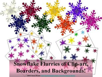 Snowflake Flurries of Borders, Backgrounds, and Clip-art!