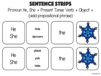 Following Directions Snowflake Theme Plus Sentence Strips and Reinforcement
