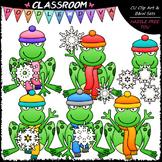 Snowflake Frogs - Clip Art & B&W Set