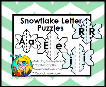 Snowflake Letter Puzzles for Preschool