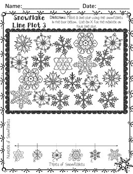 Snowflake Line Plot Mini Set - Print and Go! - Printer Friendly