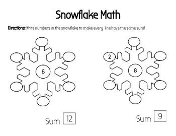 Snowflake Math - Adding 3 Numbers