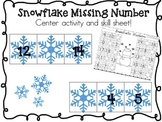 Snowflake Missing Number Center and Skill Sheet