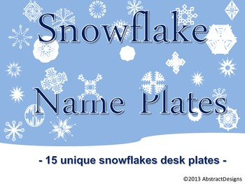 snowflake name plates by abstractdesigns teachers pay teachers
