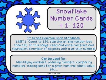 Snowflake Number Cards 1-120