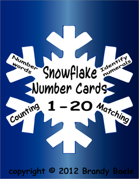 Snowflake Number Cards 1 to 20 - counting, matching, id numerals & number words