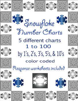 Snowflake Number Charts - 1 to 100 - 5 different color coded & response sheets