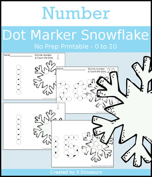 Snowflake Number Dot Marker & Counting
