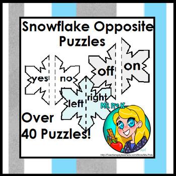 Snowflake Opposite Puzzles for Preschool