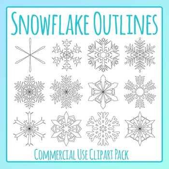 Snowflake Outlines Clip Art Set for Commercial Use
