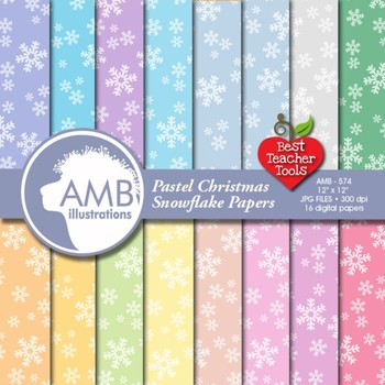 Christmas Digital Papers, Snowflake Digital Backgrounds, AMB-574