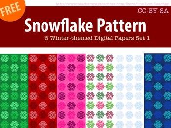 Snowflake Pattern 6 Winter-themed Digital Papers Set 1