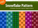 Snowflake Pattern 6 Winter-themed Digital Papers Set 2