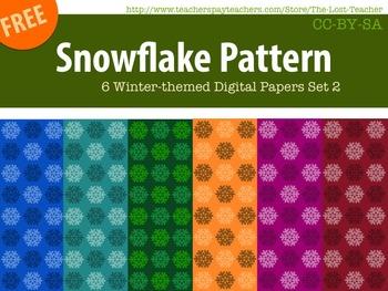 Snowflake Pattern 6 Winter-themed Digital Papers Set 2