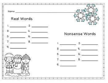 Snowflake Real and Nonsense Word Sort