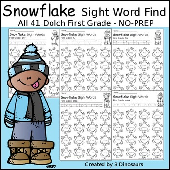 Snowflake Sight Word Find: First Grade