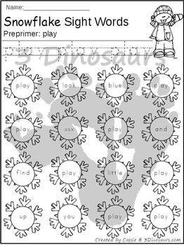 Snowflake Sight Word Find: Preprimer