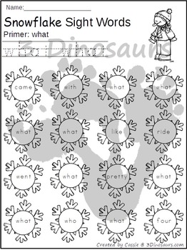 Snowflake Sight Word Find: Primer