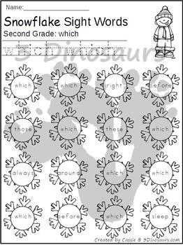 Snowflake Sight Word Find: Second Grade
