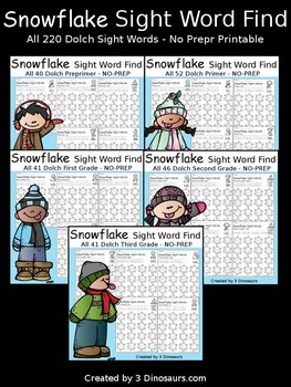 Snowflake Sight Word Find (The Bundle)