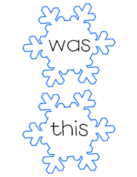 Snowflake Sight Words