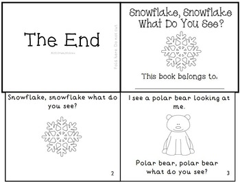 """""""Snowflake, Snowflake What Do You See?"""" Winter Emergent Reader Mini-Book K-1"""