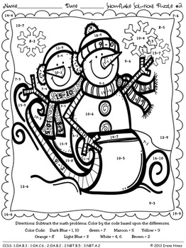 winter coloring pages and activities to print | Snowflake Solutions ~ Math Winter Printables Color By The ...