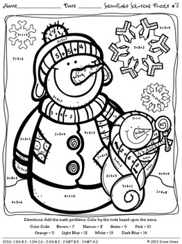 snowflake solutions math winter printables color by the code puzzles. Black Bedroom Furniture Sets. Home Design Ideas