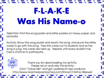 winter snowflake song and posters f l a k e was his name o tpt