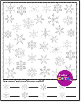Snowflake Spot the Difference Visual Perception Activities