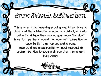 Snowflake Subtraction Center (FREE)