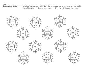 Snowflake Synonyms Practice