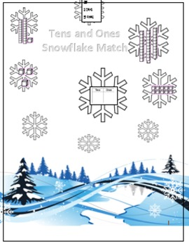 Snowflake Tens and Ones Match