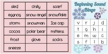 Snowflake Themed Beginning & Ending Sound Bingo