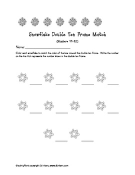 Snowflake Themed- Double Ten Frame and Number (11-20) match