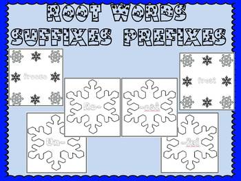Snowflake Themed Prefix, Suffix, and Root Word Word Study Center