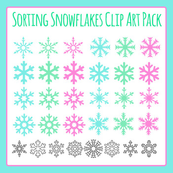 Snowflake Winter Theme Shapes for Sorting Clip Art for Commercial Use